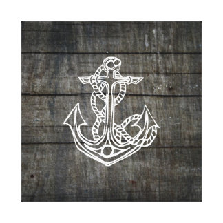 Rustic Nautical Themed Anchor on Wood Stretched Canvas Prints