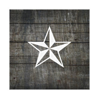 Rustic Nautical Themed Star on Wood Canvas Print