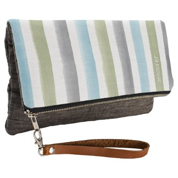 Beach Themed Rustic nautical watercolor stripes with monogram clutch