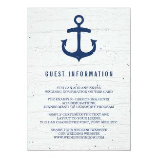 Rustic Nautical Wedding Insert Card / Navy