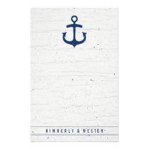 Rustic Nautical Wedding Note Paper / Navy