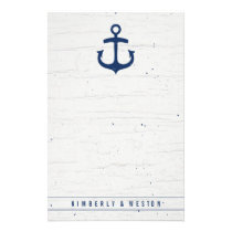 Rustic Nautical Wedding Note Paper / Navy