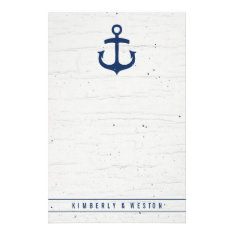 Rustic Nautical Wedding Note Paper / Navy at Zazzle