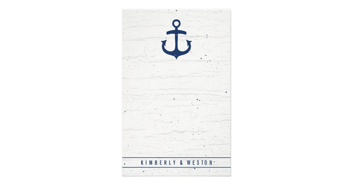 Rustic Nautical Wedding Note Paper Navy