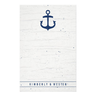 Rustic Nautical Wedding Note Paper / Navy Stationery