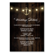 Rustic Nautical Wedding Reception + Hotel Cards