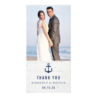 Rustic Nautical Wedding Thank You Card / Navy Photo Card