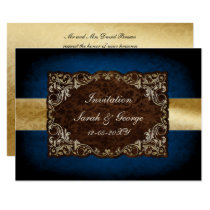 rustic navy and gold regal wedding Invitation