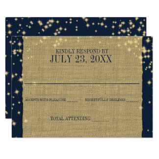 Rustic Navy and Gold Twinkle Wedding Response Card