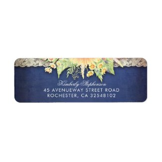 Lace and Navy Blue Rustic Wildflowers Return Address Labels