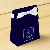 rustic Navy Blue anchor nautical wedding Favor Box