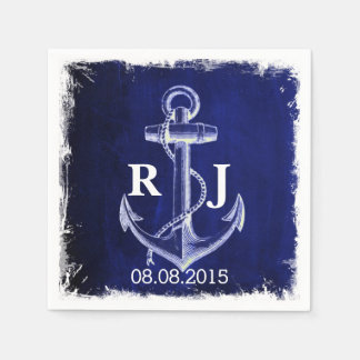 rustic Navy Blue anchor nautical wedding Paper Napkin