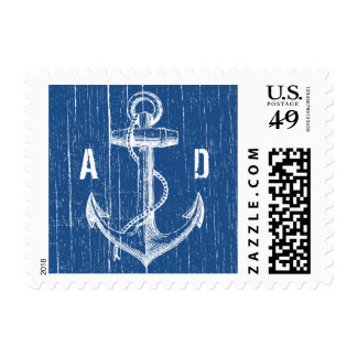 Rustic Navy Blue Anchor Nautical Wedding Stamps