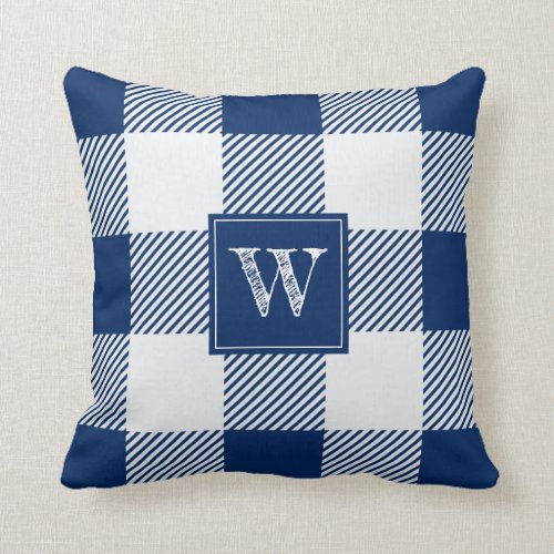 White and Navy Plaid Pillow with Letter Initial