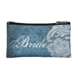rustic navy blue burlap lace country bride cosmetic bag