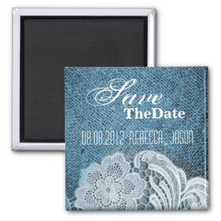 rustic navy blue burlap lace country save the date magnet