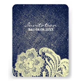 rustic navy blue burlap lace country wedding custom invites