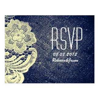 rustic navy blue burlap lace country wedding RSVP Postcard
