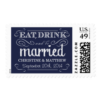 Rustic Navy Blue Chalk Wedding Postage