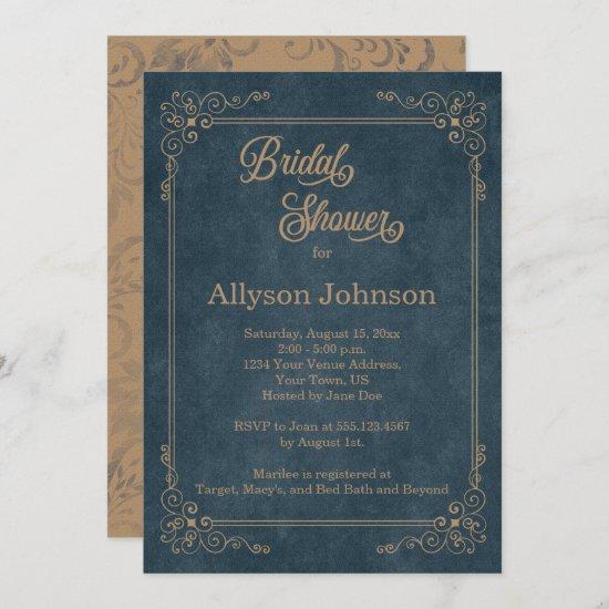 Rustic Navy Blue Chalkboard Tan Bridal Shower   Invitation