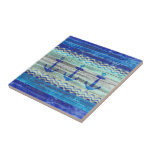 "Rustic Navy Blue Coastal Decor Anchors Ceramic Tile<br><div class=""desc"">Ocean nautical themed coastal decor of three navy blue Nautical Anchors on old weathered wood.  Nautical designs for coastal living or beach décor. Perfect for a seaside cottage or a beach house. Set in the center of a naval blue graphic of ocean waves.</div>"