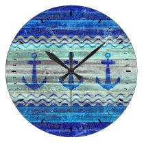 Rustic Navy Blue Coastal Decor Anchors Large Clock