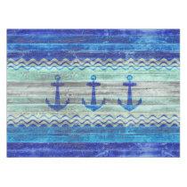 Rustic Navy Blue Coastal Decor Anchors Tablecloth