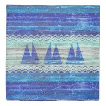 Rustic Navy Blue Coastal Decor Sailboats Duvet Cover