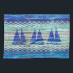 """Rustic Navy Blue Coastal Decor Sailboats Kitchen Towel<br><div class=""""desc"""">Ocean nautical themed coastal decor of three navy blue sailboats on old weathered wood.  Nautical designs for coastal living or beach d&#233;cor. Perfect for a seaside cottage or a beach house. Set in the center of a naval blue graphic of ocean waves.</div>"""