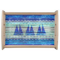 Rustic Navy Blue Coastal Decor Sailboats Serving Tray