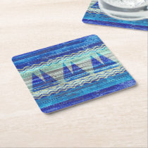Rustic Navy Blue Coastal Decor Sailboats Square Paper Coaster