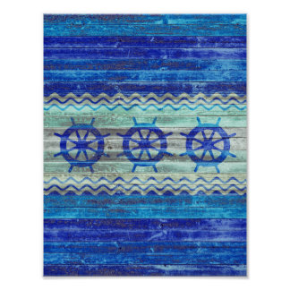 Rustic Navy Blue Coastal Decor Ship Wheels