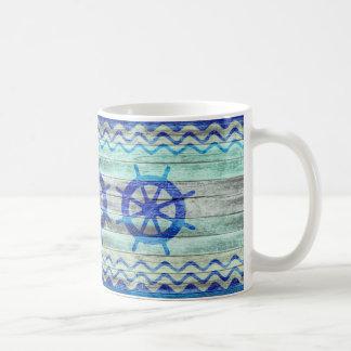 Rustic Navy Blue Coastal Decor Ship Wheels Coffee Mug