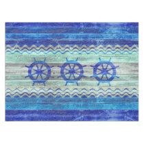 Rustic Navy Blue Coastal Decor Ship Wheels Tablecloth