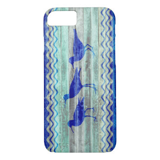 Rustic Navy Blue Coastal Sandpipers iPhone 7 Case