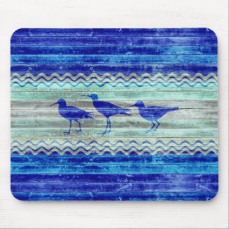 Rustic Navy Blue Coastal Sandpipers Mouse Pad