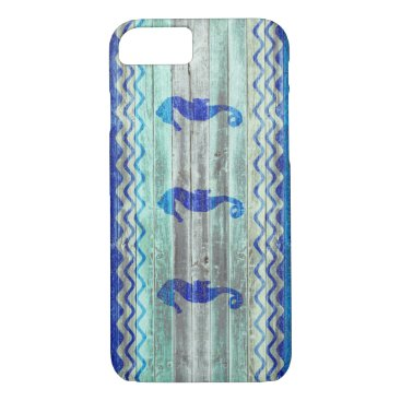 Beach Themed Rustic Navy Blue Coastal Seahorses iPhone 7 Case