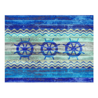 Rustic Navy Blue Coastal Ship Helm Postcard