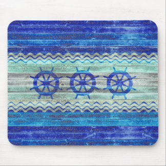 Rustic Navy Blue Coastal Ship Wheels Mouse Pad