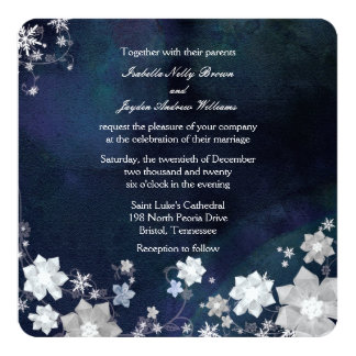 Rustic Navy Blue Frosty Winter Wedding Card