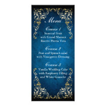 rustic navy blue gold regal wedding menu