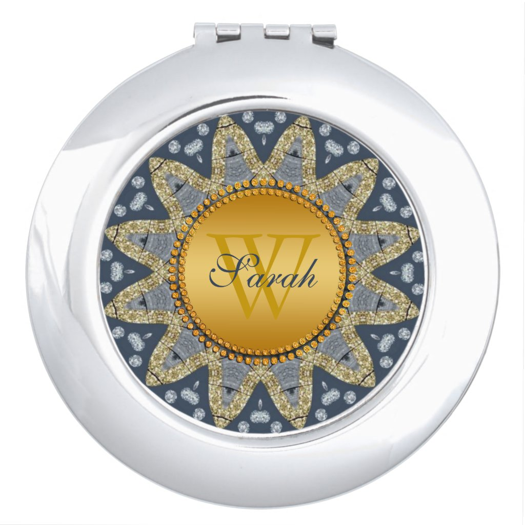 Rustic Navy Blue Gold Sunflower Compact Mirror