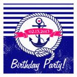 Rustic Navy Blue Nautical Birthday Invitation