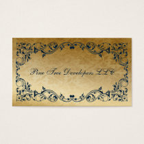 rustic navy blue regal Elegant Business cards