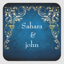 "rustic ""navy blue"" regal envelope seal"