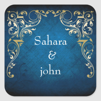 """rustic """"navy blue"""" regal envelope seal square stickers"""