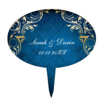 "rustic ""navy blue"" regal  personalized cake picks"