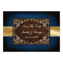 "rustic ""navy blue""regal save the date announcement"