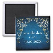 "rustic ""navy blue"" regal save the date magnets"