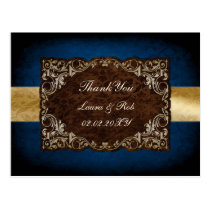 "rustic ""navy blue"" regal wedding Thank You Postcard"